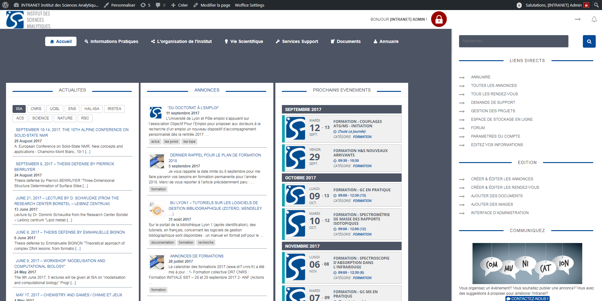 Intranet Institut des Sciences Analytiques - UMR5280